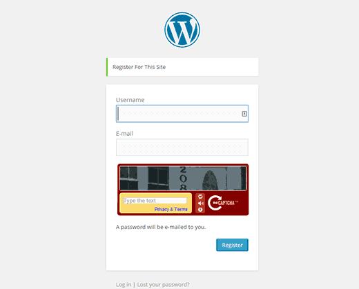 captcha-user-registration-wordpress