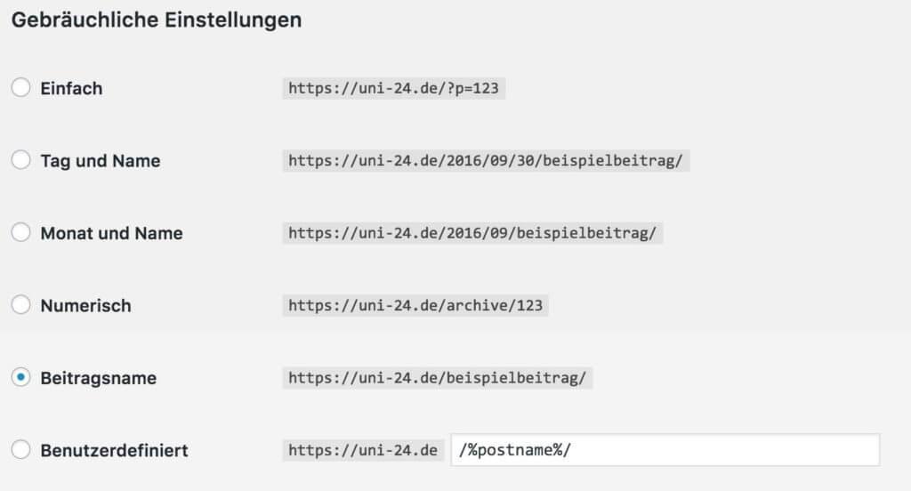 Wordpress Permalinks einstellen